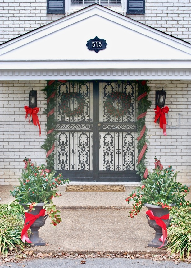 See my traditional Christmas front door plus I'm sharing my 5 entrance styling essentials