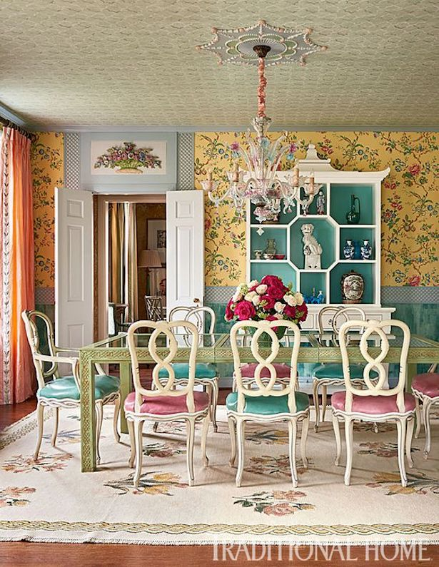 a quirky but gracious traditional dining room
