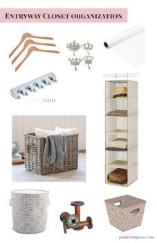 Organization and storage solutions for entryway closet