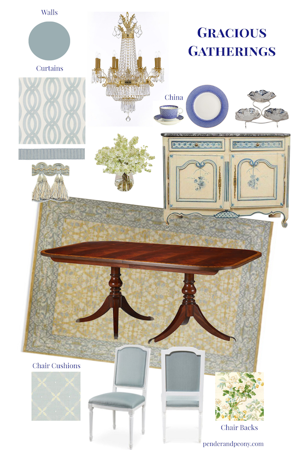 Decorating a gracious traditional dining room with aqua blue walls, wainscoting, french provincial details, and luxury fabrics