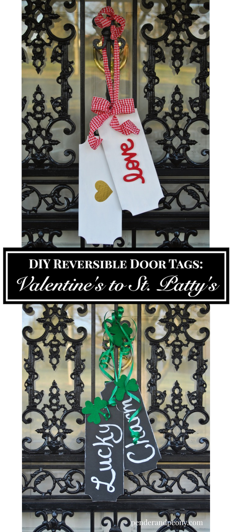 Make decorating your front door for Valentine's Day and St. Patrick's Day easy with these DIY reversible door tags
