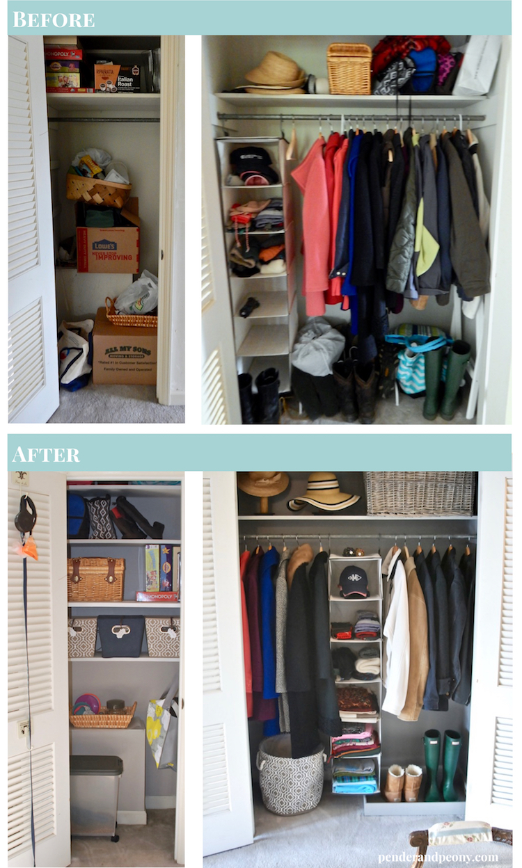 Create an organized entryway with these steps from my entryway closet makeover. Check out the before and after photos