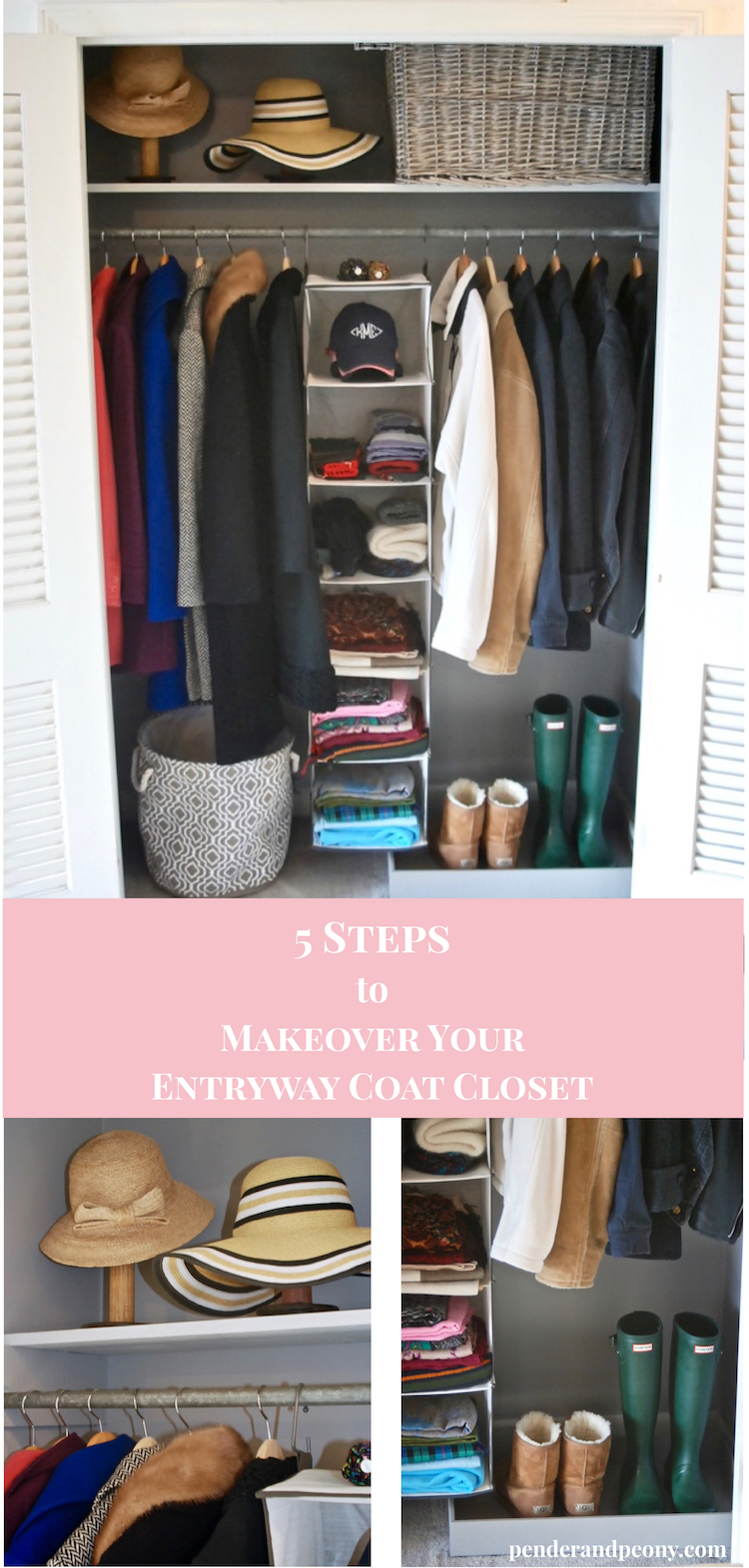 Use these 5 steps to makeover your entryway closet and create organization. Check out the before and after photos of my closet makeover.