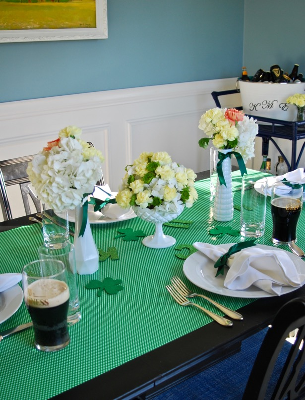 Celebrate St. Patty's Day with a Guinness beer tasting party, yummy shepherd's pie, and one lucky green Saint Patrick's Day tablescape.