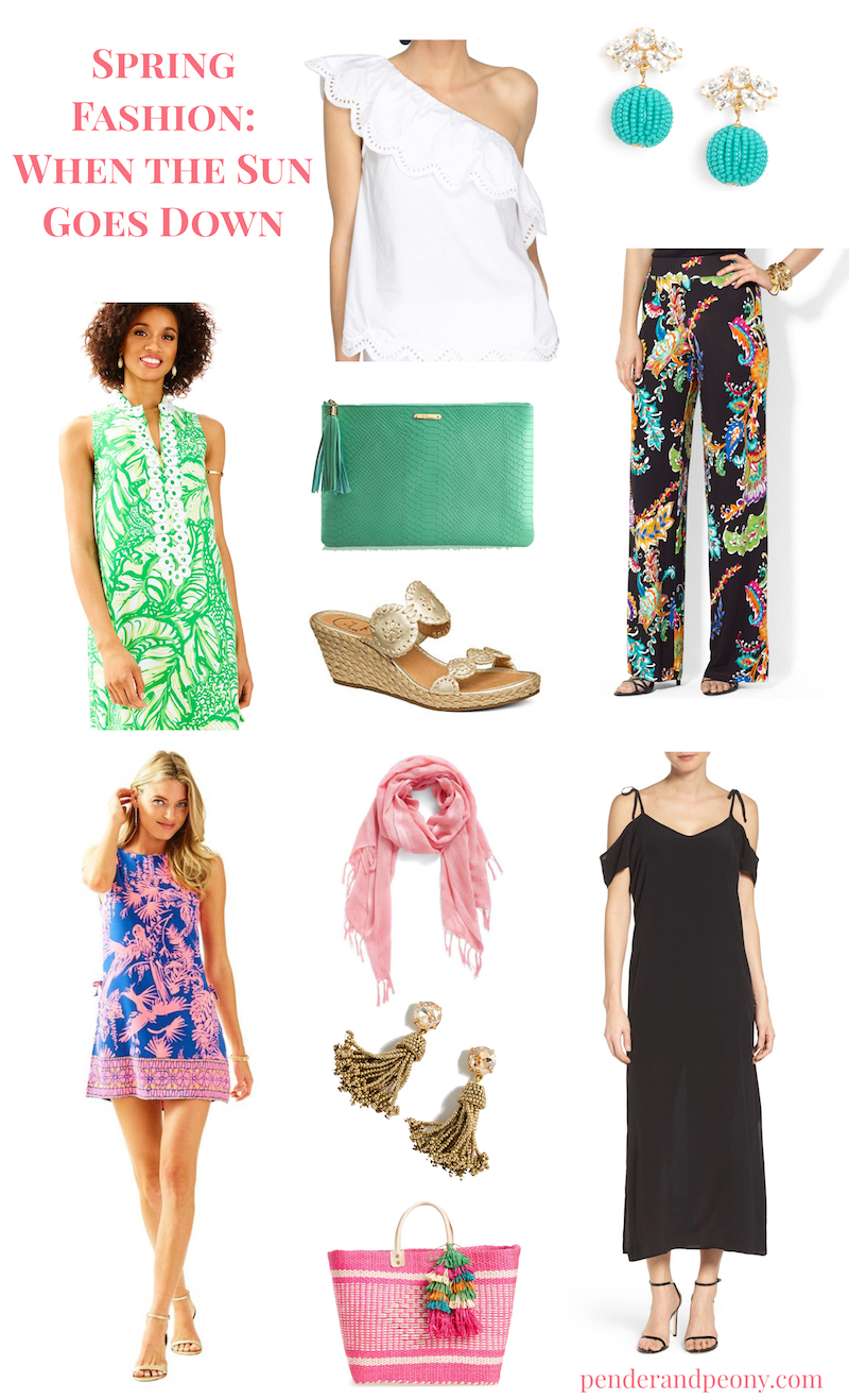 Incorporate these spring fashion trends on your next vacay: eyelet, pastels, white sneakers, off-the-shoulder!