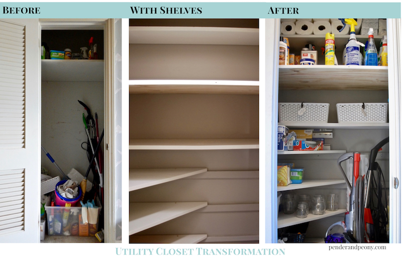 How to organize your utility closet pender peony a for Transform small closet space