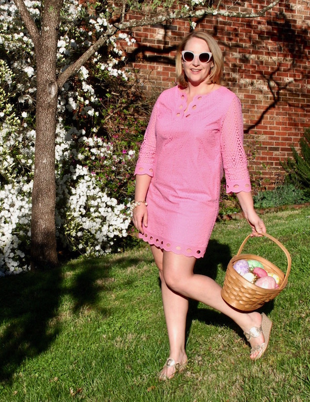 A pretty pink eyelet dress perfect for Easter and spring celebrations.