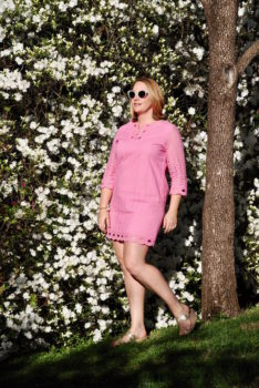 Pink eyelet Easter dress perfect for spring