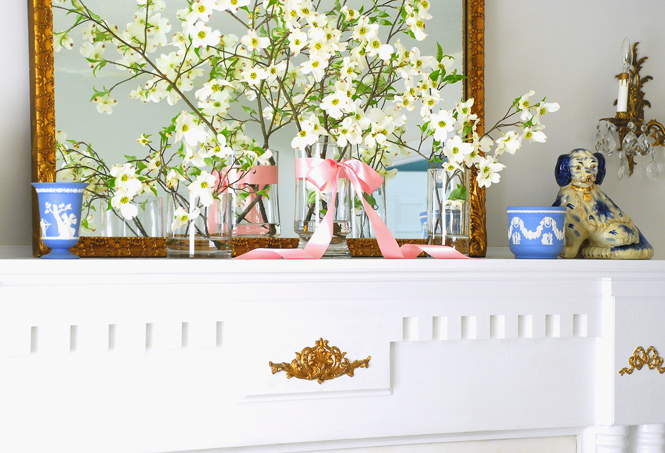 Bring spring inside with fresh dogwood blooms for a stunningly simple spring mantle.