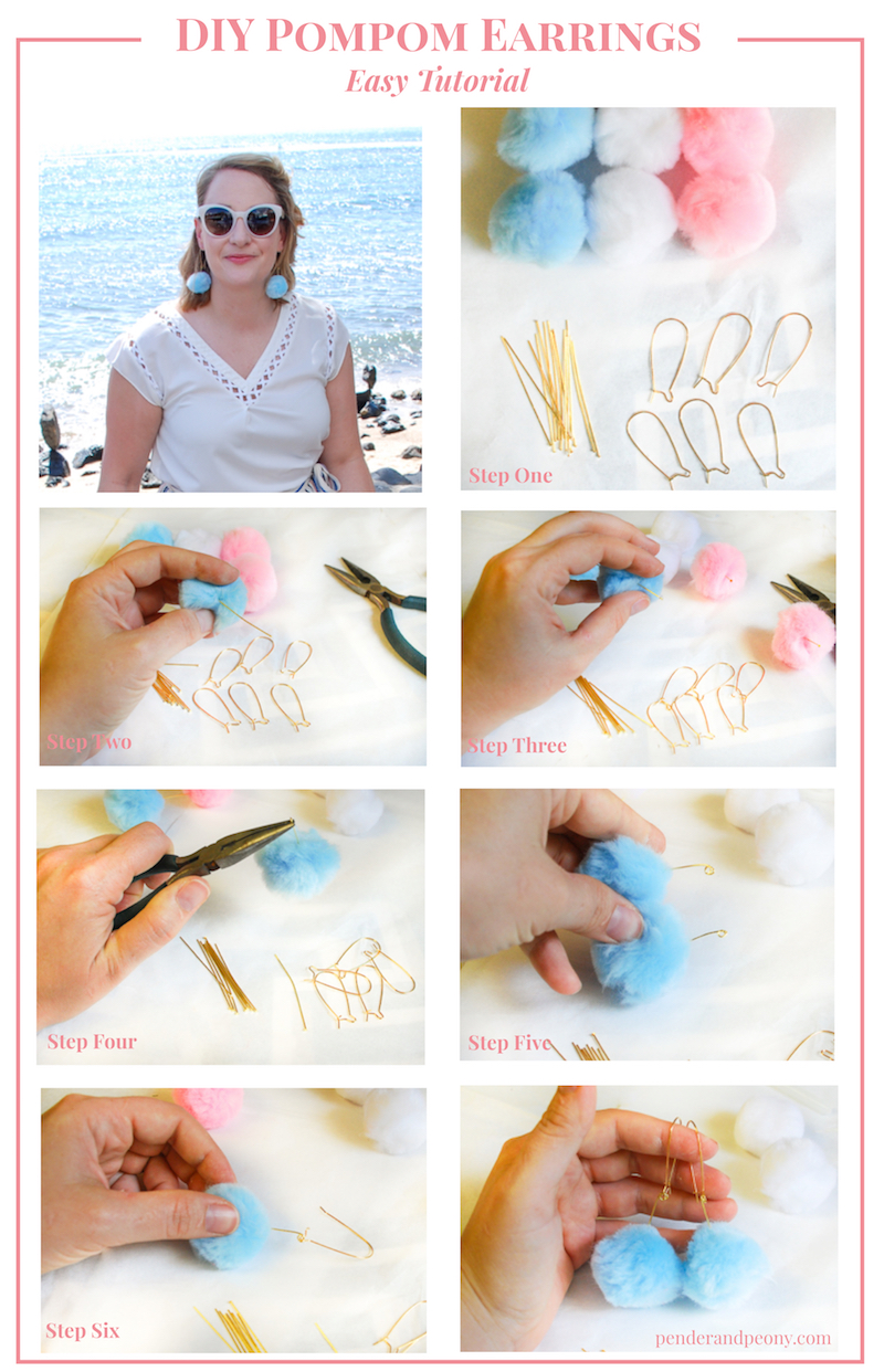 Forgo the expense and make your own pompom earrings! This is an easy DIY - great for craft parties!