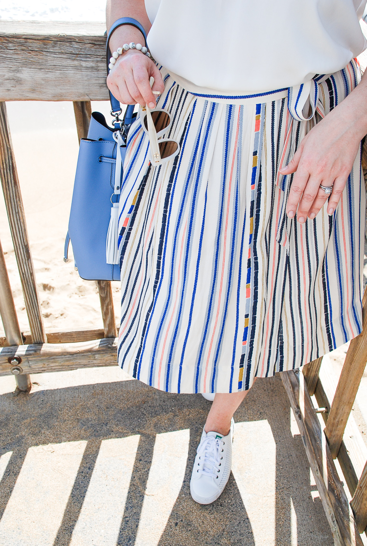 This breezy tie waist skirt in pretty pastels is classic summer style!