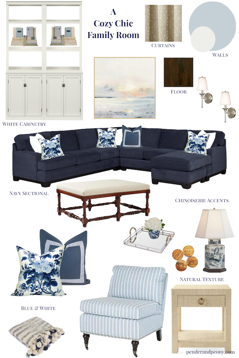 Natural textures, chinoiserie accents, and a blue and white palette create a cozy yet chic family room!