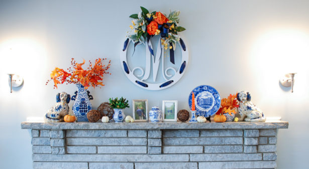 Decorate for autumn with a cheery blue and white fall mantle adorned with mini pumpkins, fall foliage, Staffordshire spaniels, monograms, and blue and white china!