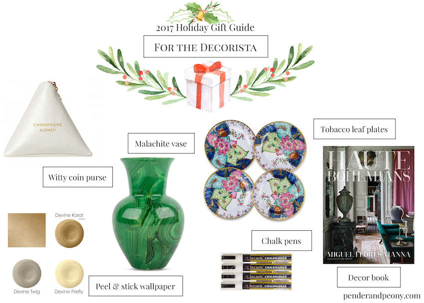 Check off every name on your Christmas list with Pender & Peony's 2017 Holiday Gift Guide! These 7 curated gift guides cover every personality from the decorista to the Southern gent.