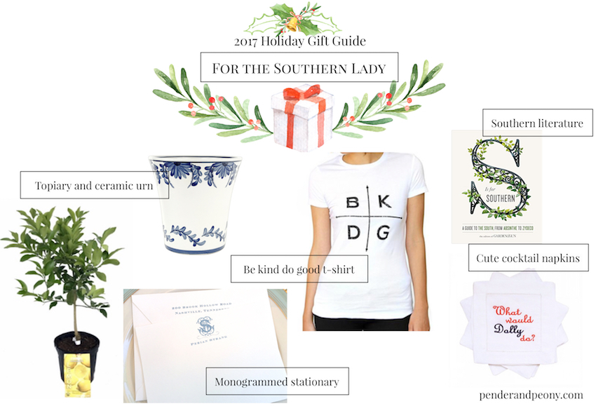 Check off every name on your Christmas list with Pender & Peony's 2017 Holiday Gift Guide! These 7 curated gift guides cover every personality from the gourmet to the Southern lady.