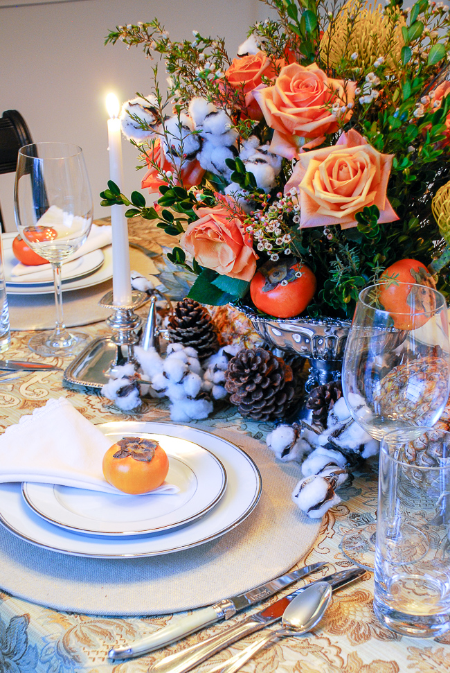 Set an elegant Thanksgiving table with traditional flair this year adorned with romantic roses, pineapples, cotton, sterling silver, and brocade table linens!