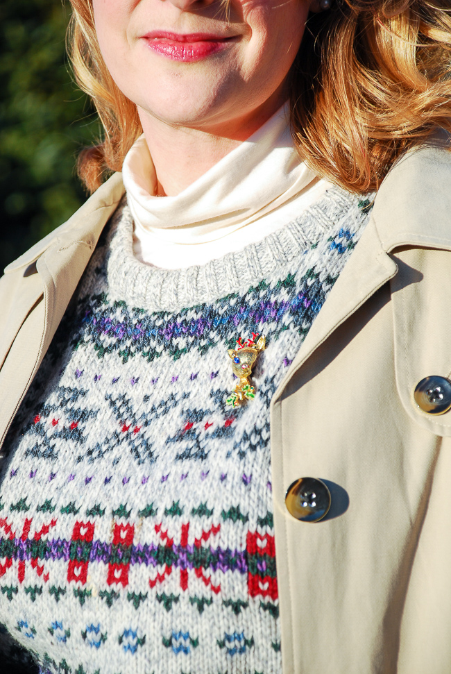 This vintage ski sweater and Rudolph pin make my preppy holiday outfit complete!