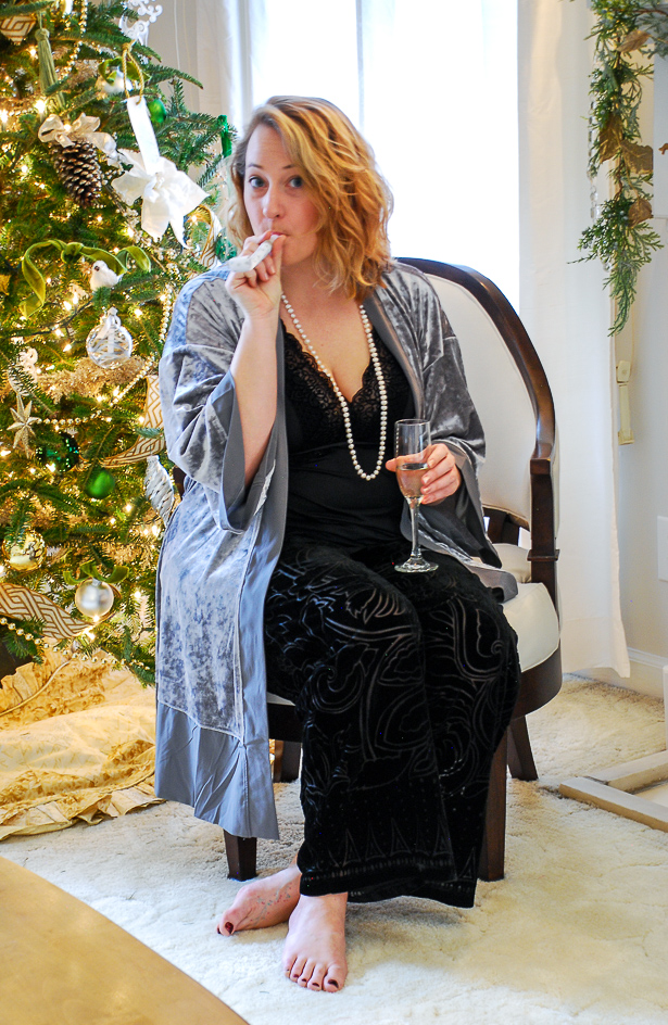 Staying in this New Year's Eve? Dress in luxurious loungewear with velvet fabrics for a glamorous NYE at home.