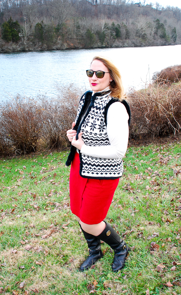 Two looks with this fair isle sweater vest in classic black and white for chic everyday wear that will keep you toasty on these cold January days!