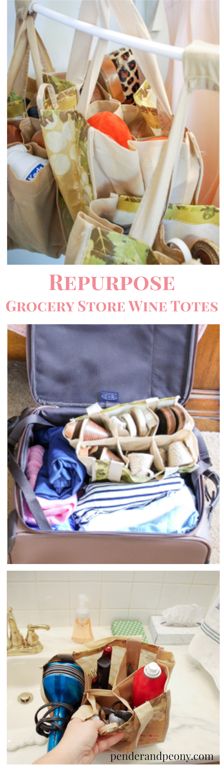 Repurpose grocery store wine totes as storage caddies to organize your closet, bathroom, and suitcase. No crafting, sewing, or gluing necessary!