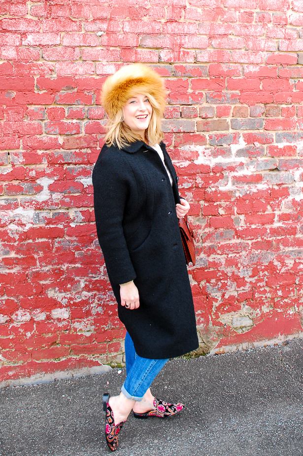 All the promise of fashion - winter outfit with fur hat - just because #foxfur #vintagewoolcoat #cashmere #boyfriendjeans #mules