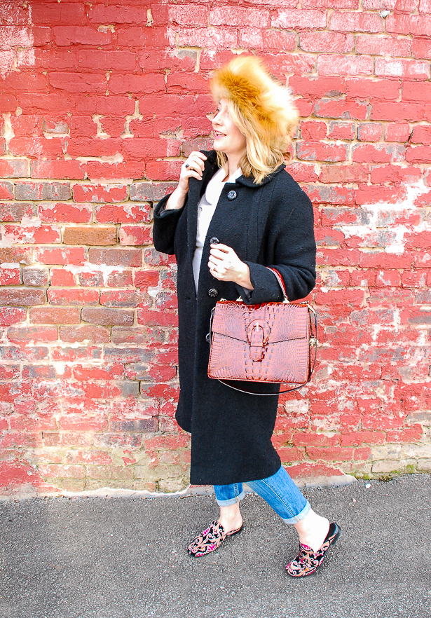 All the promise of fashion - winter outfit with fur hat - just because #foxfur #Brahmin #vintagewoolcoat #cashmere #boyfriendjeans #mules