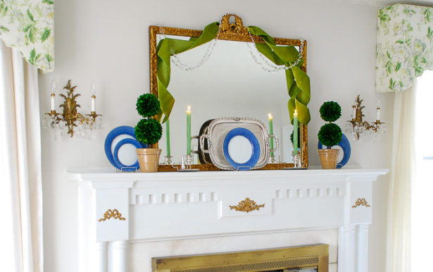 How to create a traditional mantel using boxwood topiary decor for everyday decorating.