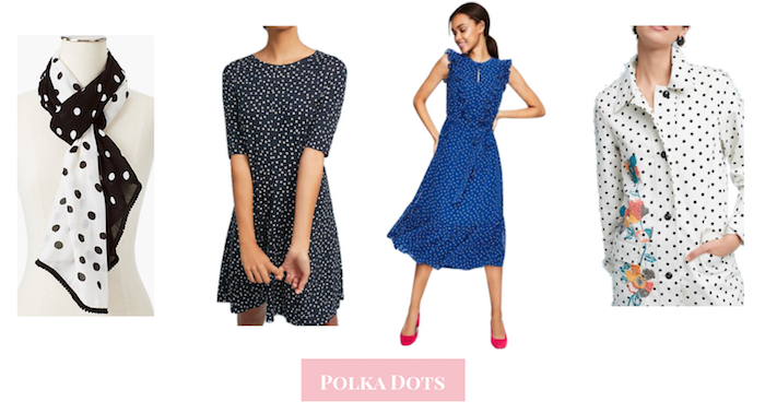 The spring fashion essentials you need for a bright, stylish spring: polka dots, espadrilles, blue and white stripes, chambray, blush sneakers, cozy wraps, ruffles, broderie.