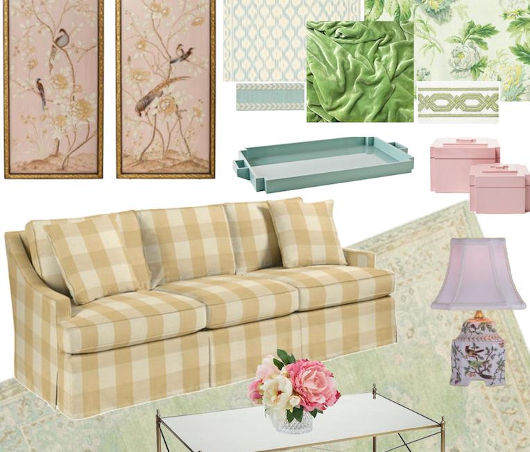 Southern Charm Living Room: Gingham-chintz-living-room Copy