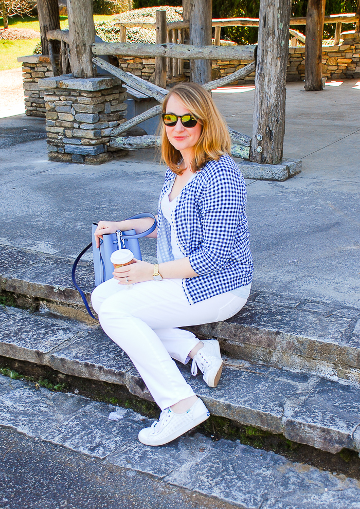 The perfect spring outfit pairing in blue and white: gingham cardis & ladybug tees!