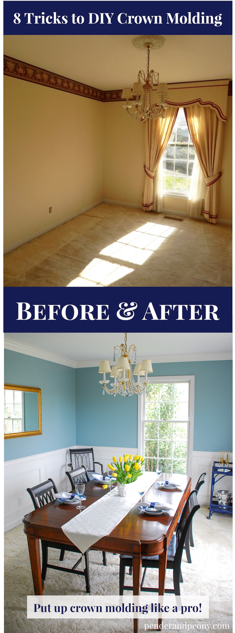 before and after of dining room with DIY crown molding