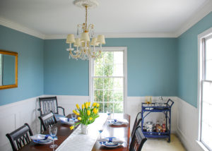 Blue dining room after DIY crown molding installation