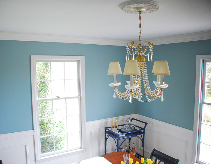 Blue dining room after DIY crown molding installation