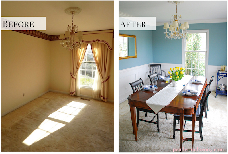 Charmant Before And After Of Dining Room With DIY Crown Molding