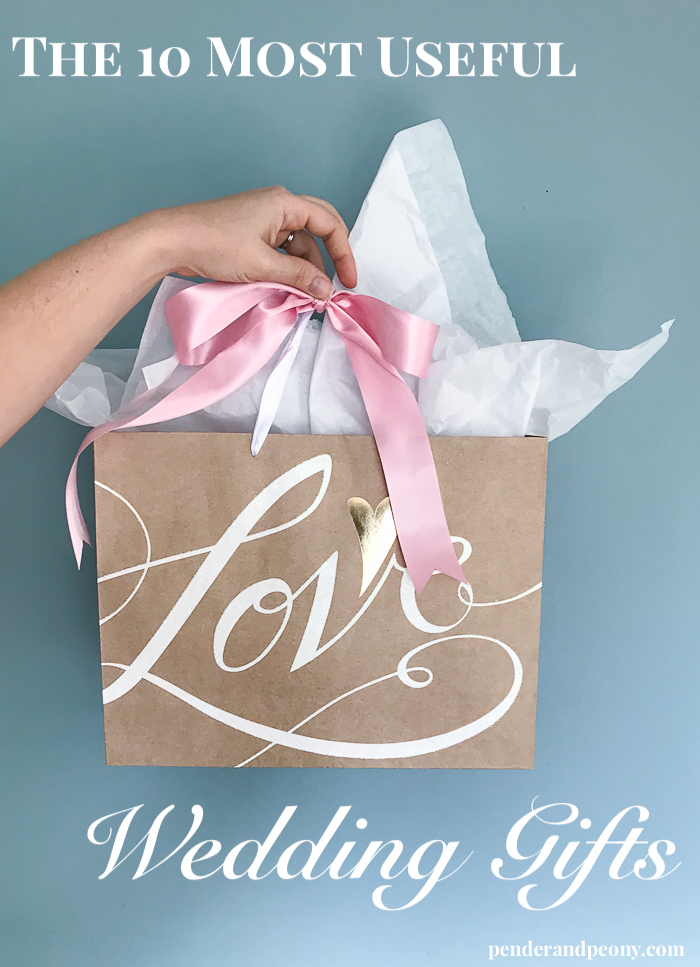 Useful wedding gifts - wrapped in pretty gift bag with pink bow