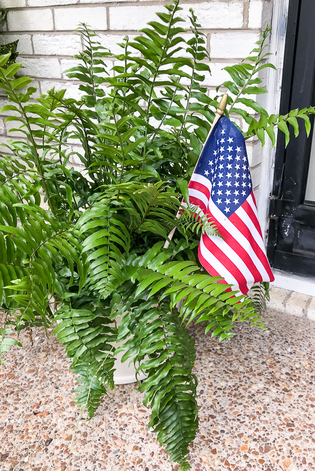Patriotic fern with American flag for 4th of July decor at front door