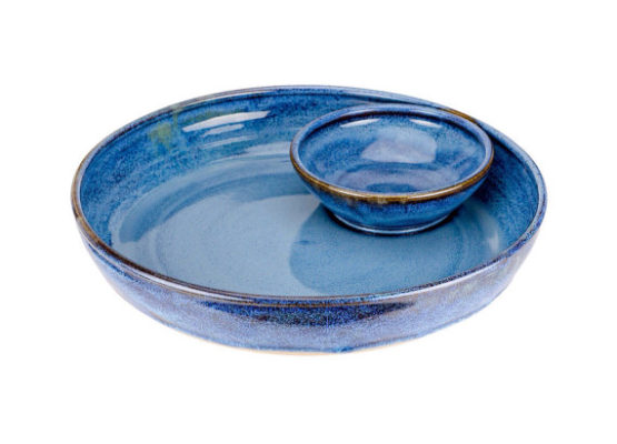 A blue ceramic chip and dip is one of the most useful wedding gifts!