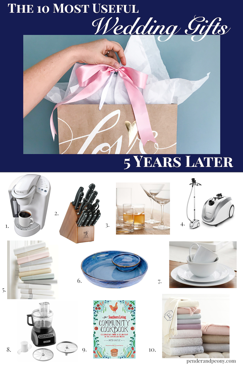 Collage of 10 most useful wedding gifts