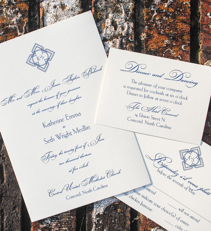Blue and white wedding invitations