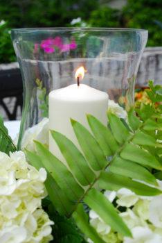 How to create this hydrangea centerpiece with hurricane lantern