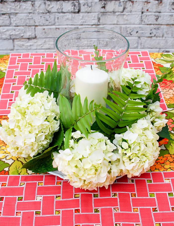 Step 7 to create hydrangea centerpiece - add fern sprigs
