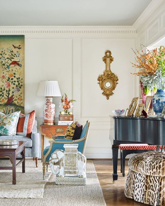 Living room featuring Chinoiserie motifs with whimsical florals