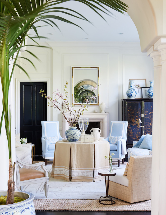 Pale blue and khaki living room with Chinoiserie chic decor