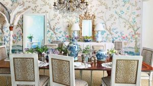 Chinoiserie Chic dining room with layers of pattern, texture, and decor.