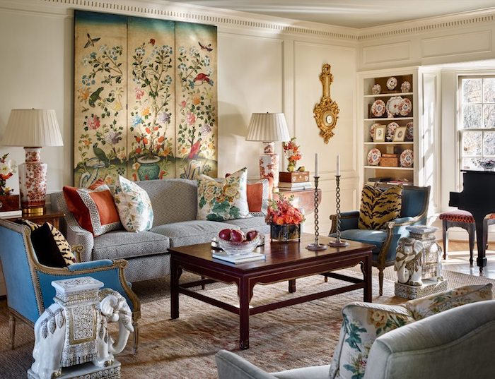 Chinoiserie Chic decorating in a living room with mix of Chinoiserie motifs.