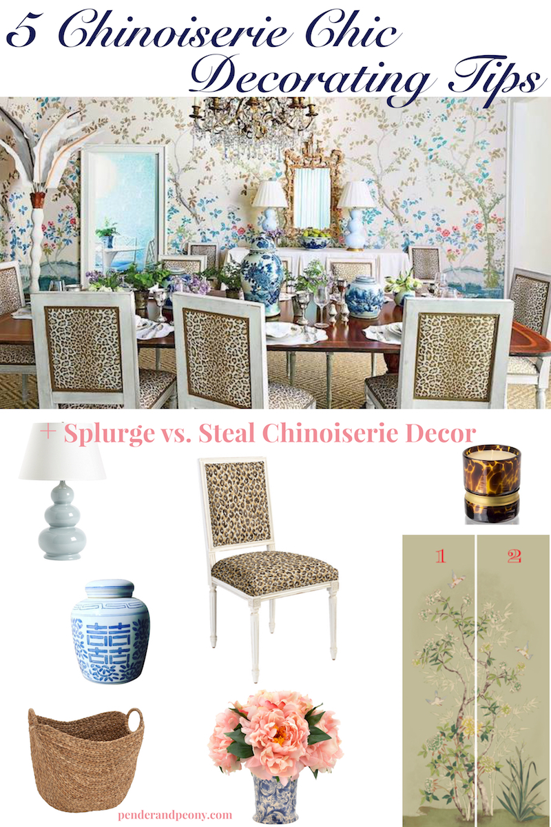 Chinoiserie chic decorating tips collage with dining room and accents