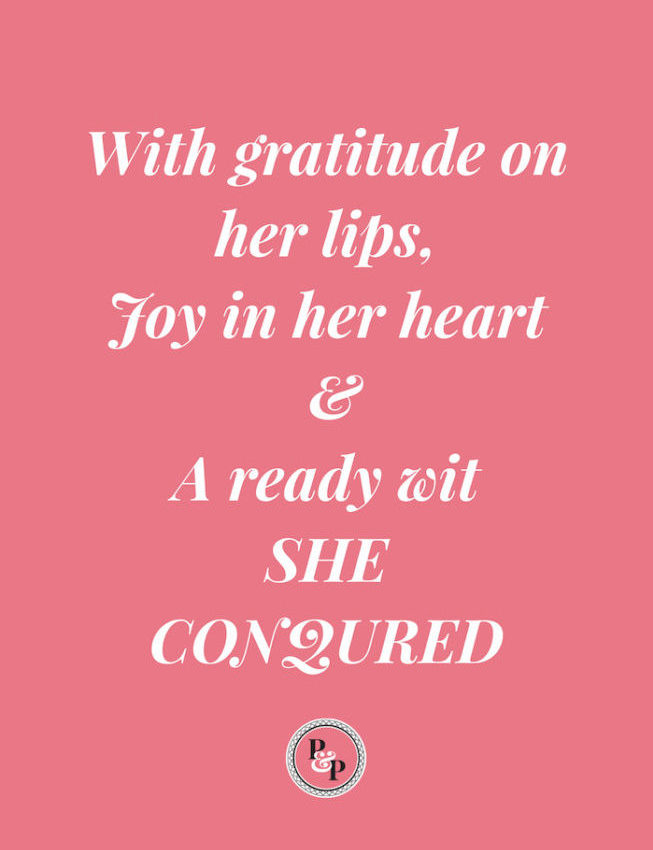 With gratitude on her lips, joy in her heart and a ready wit she conquered. graphic white text agains pink background