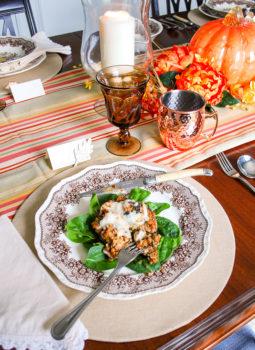 Fall table with sausage stuffed portobello mushrooms for dinner. Delicious fall recipe!