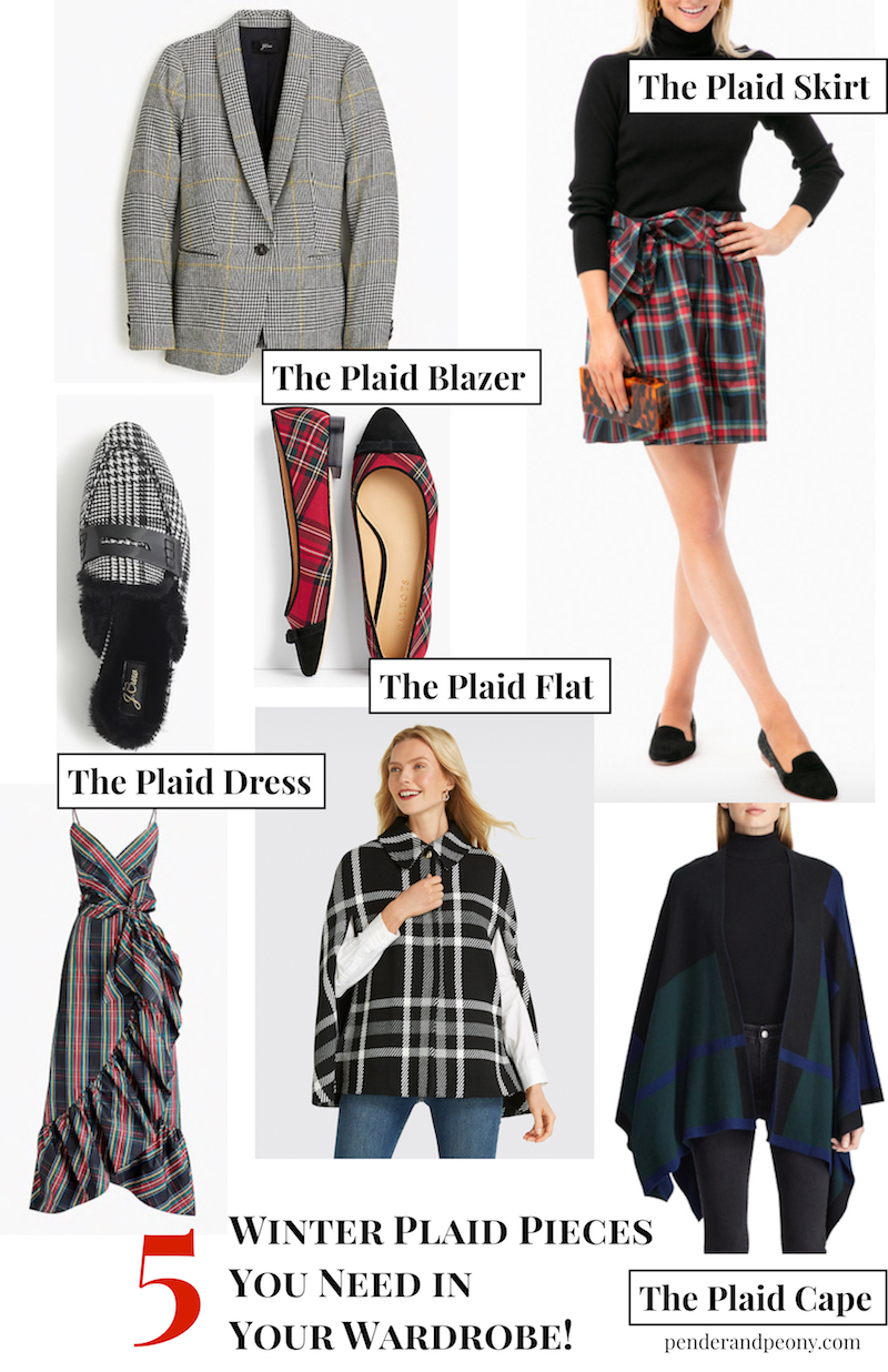 Collage of the 5 winter plaid pieces you need to add to your wardrobe: plaid skirts, blazers, capes, flats, and holiday dresses