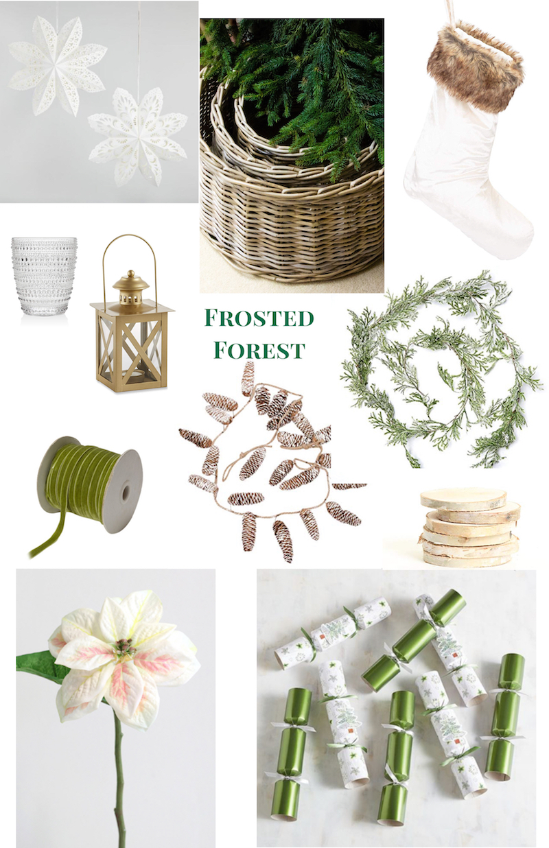 Christmas Decor Ideas for 2018: collage of frosted forest decorations